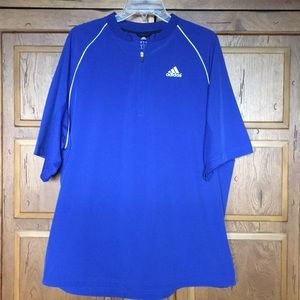 Adidas blue halfzip shortsleeve windshirt jacket L